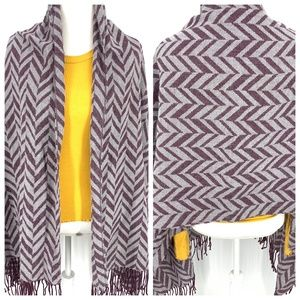 Charming Charlie plum & gray chevron fringe wrap